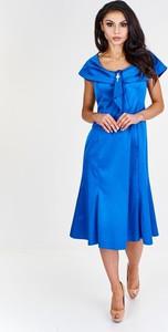 Sukienka Fokus midi z tkaniny rozkloszowana