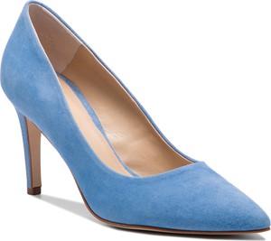 Niebieskie szpilki Solo Femme na średnim obcasie ze skóry ze spiczastym noskiem