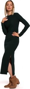 Czarna sukienka MOE z długim rękawem w stylu casual z golfem