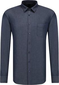 Niebieska koszula Boss z klasycznym kołnierzykiem z długim rękawem