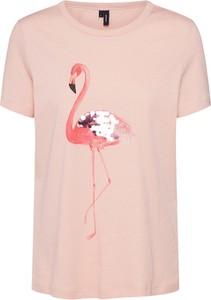 Różowa bluzka Vero Moda w stylu casual z krótkim rękawem