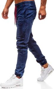 Granatowe jeansy Denley w street stylu z bawełny