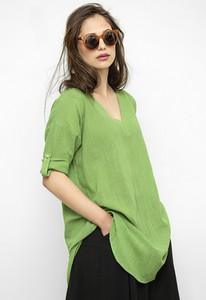 Zielona bluzka Freeshion z lnu z dekoltem w kształcie litery v