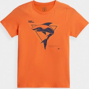 Pomarańczowa koszulka dziecięca 4F dla chłopców z dzianiny z krótkim rękawem