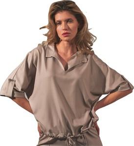 Brązowa bluzka Figl z dekoltem w kształcie litery v z długim rękawem