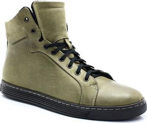 KENT 306S OLIWKA - Wysokie buty ze skóry
