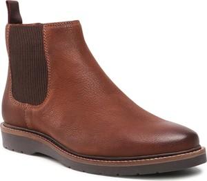 Brązowe buty zimowe Badura ze skóry