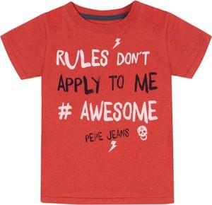 Czerwona koszulka dziecięca Pepe Jeans z krótkim rękawem