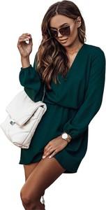 Zielona sukienka Ivon z długim rękawem