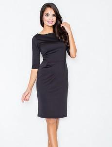Czarna sukienka Figl midi z długim rękawem