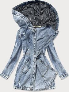 Niebieska kurtka Goodlookin.pl długa z bawełny w stylu casual