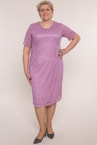 Fioletowa sukienka modneduzerozmiary.pl z krótkim rękawem