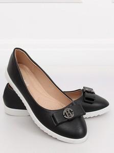 d59ee2544f43dd Czarne baleriny Funkee.pl w stylu casual z płaską podeszwą ze skóry  ekologicznej