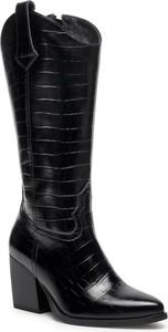 Czarne kozaki Nessi na obcasie przed kolano