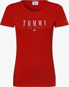 Czerwony t-shirt Tommy Jeans z okrągłym dekoltem z krótkim rękawem z bawełny