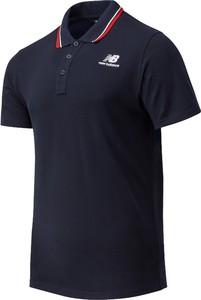 Granatowy t-shirt New Balance z bawełny w sportowym stylu z krótkim rękawem