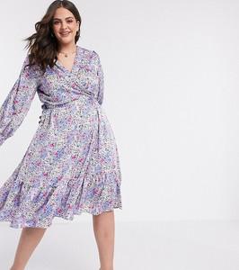 Fioletowa sukienka Vero Moda Curve midi