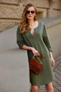 Zielona sukienka Makadamia z dresówki