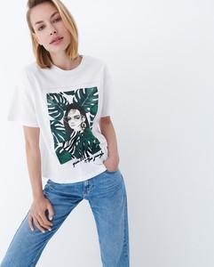 T-shirt Mohito z nadrukiem z bawełny w młodzieżowym stylu