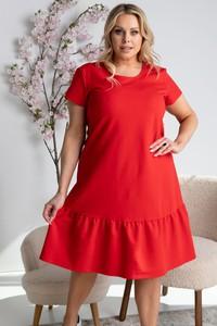 Czerwona sukienka KARKO z okrągłym dekoltem w stylu casual z krótkim rękawem