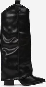Czarne kozaki Multu ze skóry na zamek