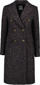 Czarny płaszcz Lavard w stylu casual z wełny