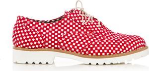 Czerwone półbuty Zapato z płaską podeszwą
