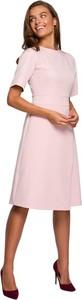 Sukienka Style z okrągłym dekoltem midi