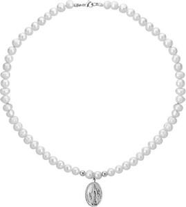 Manoki Naszyjnik perły z medalikiem ze stali szlachetnej