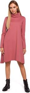 Różowa sukienka Merg mini z długim rękawem asymetryczna