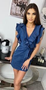 Niebieska sukienka Milano z jeansu kopertowa z dekoltem w kształcie litery v