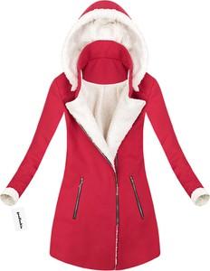 Czerwony płaszcz made in italy z poliestru
