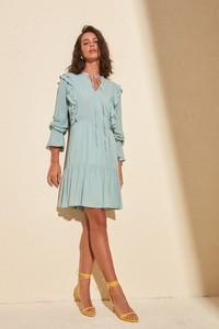 Niebieska sukienka Trendyol mini w stylu casual z długim rękawem