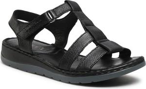Czarne sandały Caprice ze skóry z klamrami