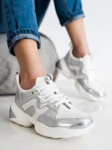 Srebrne buty sportowe Czasnabuty z zamszu
