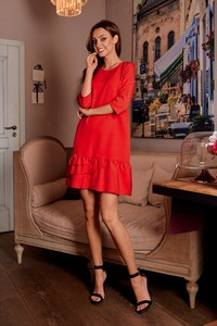 Czerwona sukienka Lemoniade z okrągłym dekoltem w stylu klasycznym z długim rękawem