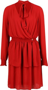 Czerwona sukienka Trussardi Jeans mini z żabotem z długim rękawem