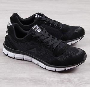 Czarne buty sportowe American Club w młodzieżowym stylu ze skóry