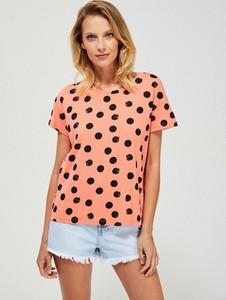 T-shirt Moodo w stylu casual z bawełny z okrągłym dekoltem