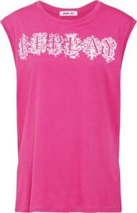 Różowa bluzka Replay w stylu casual