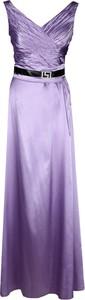 Fioletowa sukienka Fokus maxi w stylu glamour