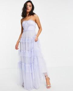 Niebieska sukienka Needle & Thread bez rękawów maxi