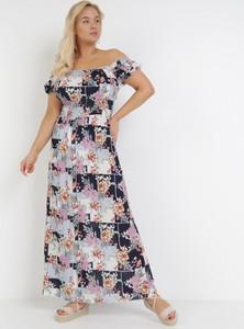 Sukienka born2be z krótkim rękawem maxi w stylu boho