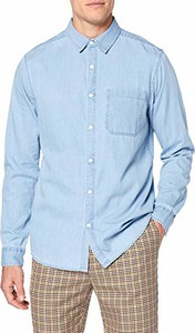 Niebieska koszula amazon.de z klasycznym kołnierzykiem z długim rękawem