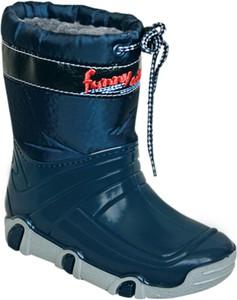 Niebieskie buty dziecięce zimowe ZETPOL z wełny sznurowane
