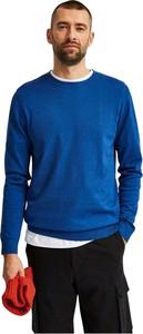 Niebieski sweter Selected Homme z okrągłym dekoltem