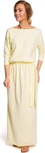 Sukienka MOE z bawełny z długim rękawem maxi
