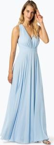 Niebieska sukienka Marie Lund prosta z dekoltem w kształcie litery v