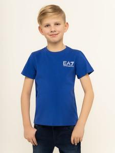 Niebieska koszulka dziecięca Emporio Armani z krótkim rękawem