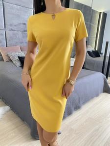 Pomarańczowa sukienka ModnaKiecka.pl z okrągłym dekoltem z krótkim rękawem w stylu casual